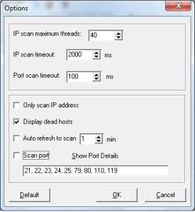 Free IP scanner Opzioni